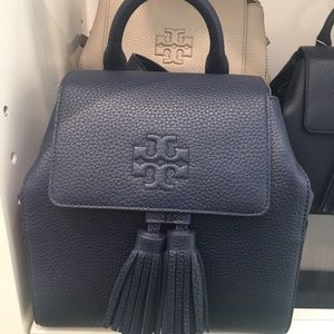 Tory Burch Thea Mini Navy Blue Leather Backpack
